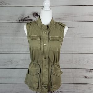 Per Se• xs vest utility jacket drawstring waist